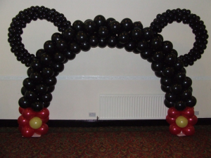Mickey mouse themed balloon arch