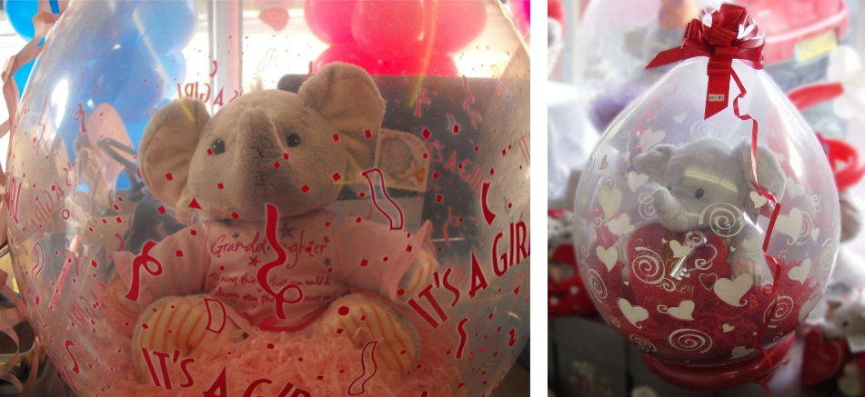 Image of teddies in balloons